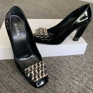 Prada Patent Leather Heel silver chain Size 7
